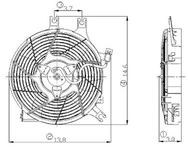 2000 Mitsubishi Montero Sport Engine Cooling Fan Assembly GP 2811415