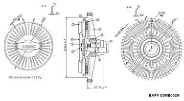 1999 Mercedes-Benz SL500 Engine Cooling Fan Clutch HL 376732531