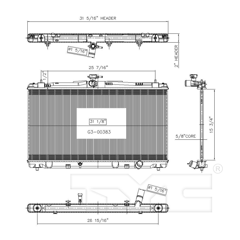toyota 1 8 diagram 2017 toyota camry radiator autopartskart com  2017 toyota camry radiator