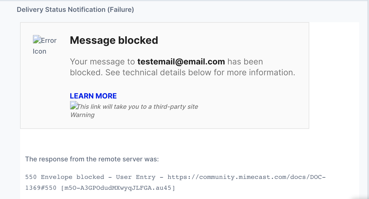 Spam Blocked Email