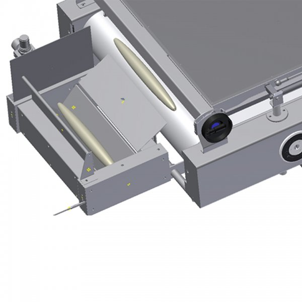Photocell activated dough depositing unit which ensures that the dough is positioned correctly afterward the moulding process