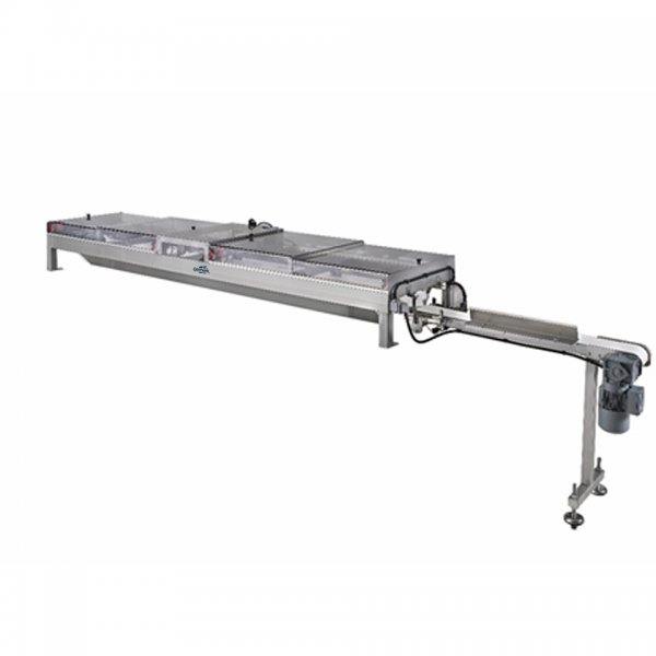 Automatic charging of dough pieces on swing tray proofer or belt proofer with glimek V-belt charging system.