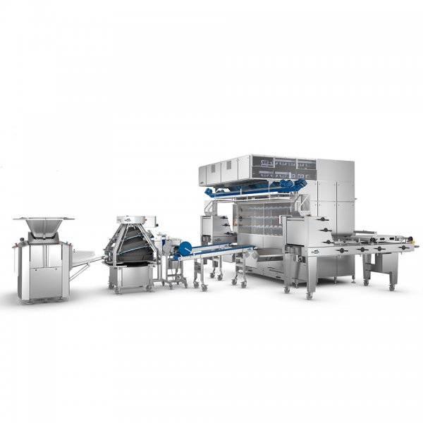 high capacity dough make-up line for large and industrial bakeries, produces up to 4500 dough pieces per hour, glimek