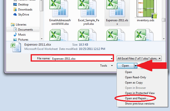 how to open repair word document