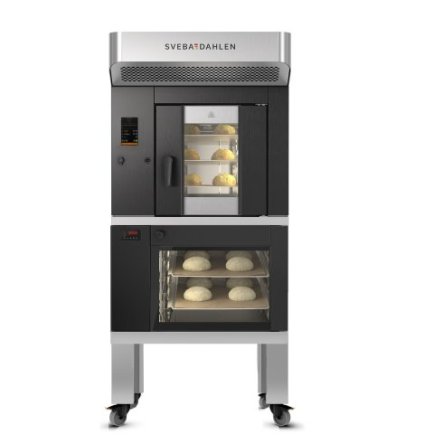 Combination oven with underbuilt proofer. S-Series offer amazing baking in rotating rack oven and optimized proofing below.