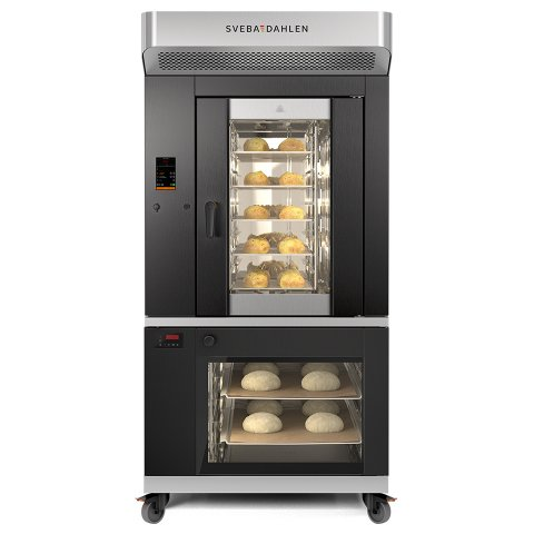 Optimized in-store baking oven. Best baking in limited space with oven above and proofer below.
