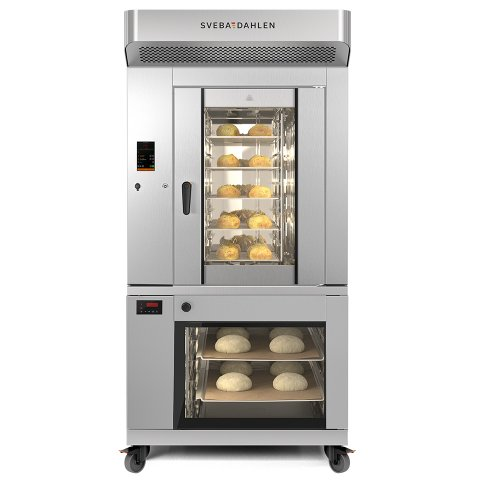 Combination Oven with rotating rack oven above and proofer below. Best on-tray baking for super market, small bakeries and cafe.