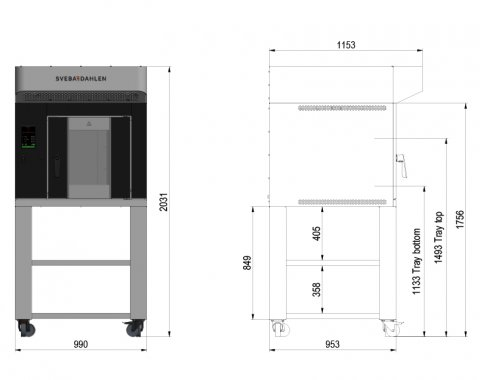In-store oven S-Series can be equipped with underbuilt shelf for extra storage