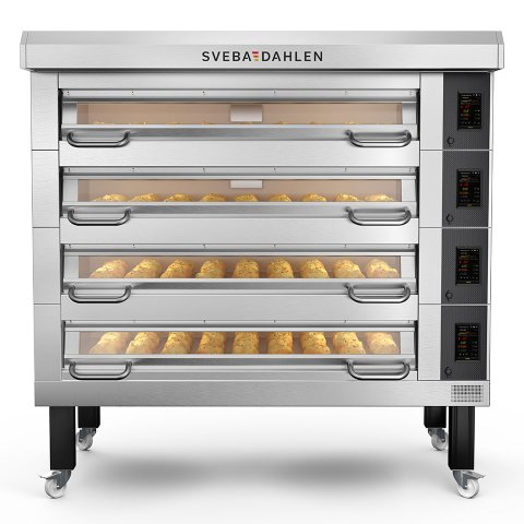 High capacity bakery deck oven d-series d43 with four decks. Premium baking oven for bakeries and confectionery