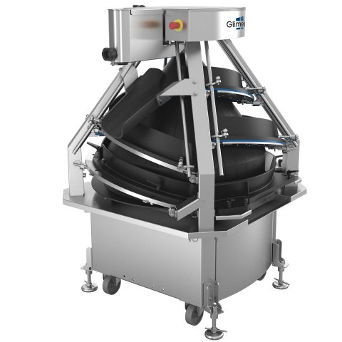 Conical dough rounder which process up to 6000 dough pieces per hour / 100 pieces per minute into regualar shaped buns