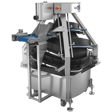 Conical dough rounder with outfeed conveyor for all kind of bakeries processes up to 6000 dough pieces into regular shaped balls - Glimek