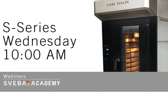 sveba academy s-series webinar, learn more about the new mini rack oven for store bakeries online