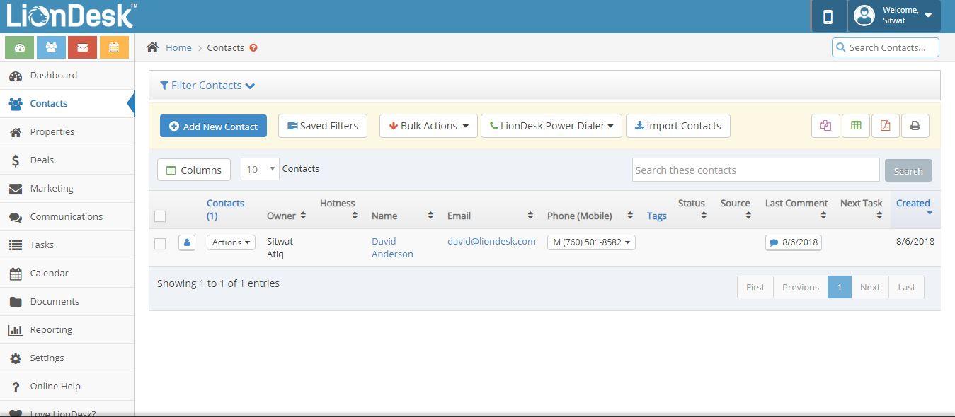 Liondesk CRM Screenshot