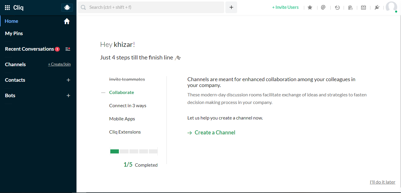 Zoho Cliq Screenshot