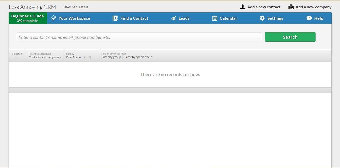Less Annoying CRM Screenshot