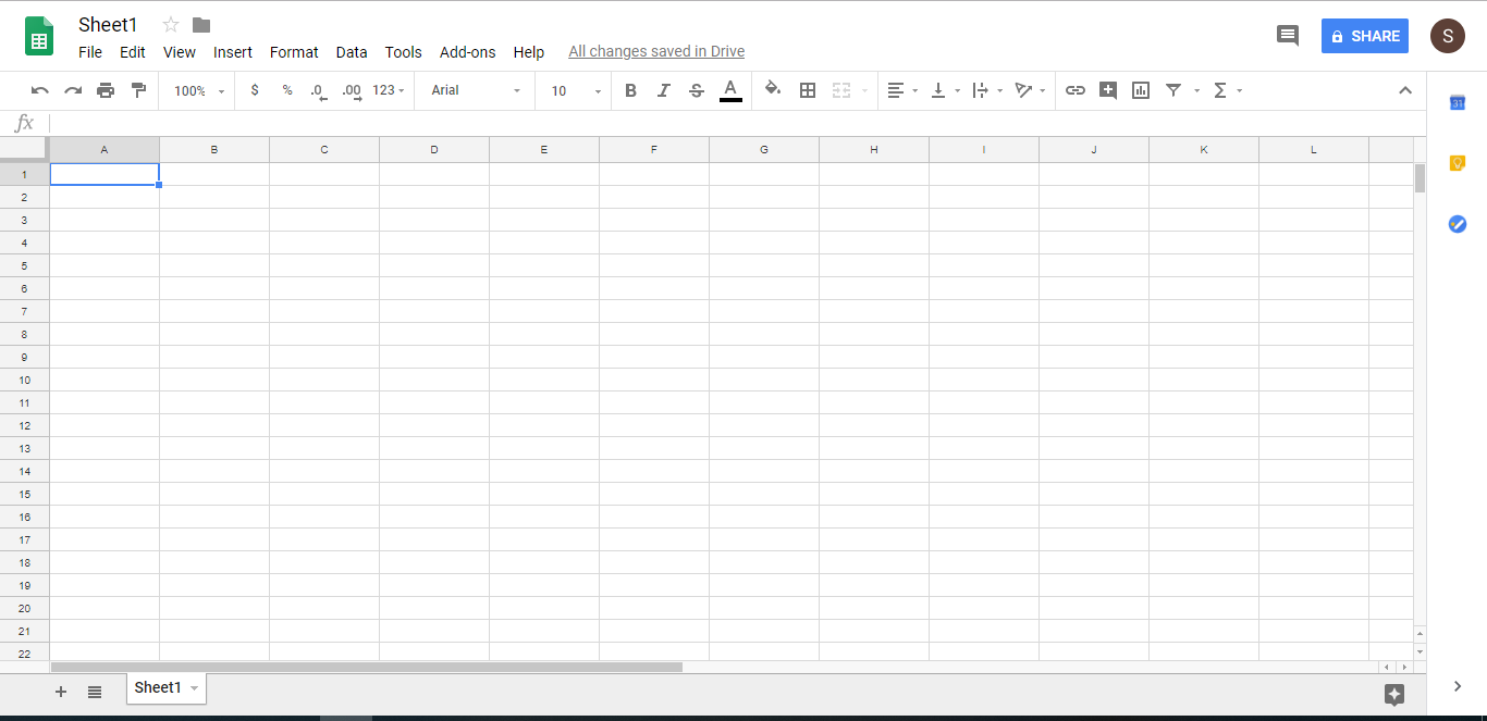 Google Spreadsheet Screenshot