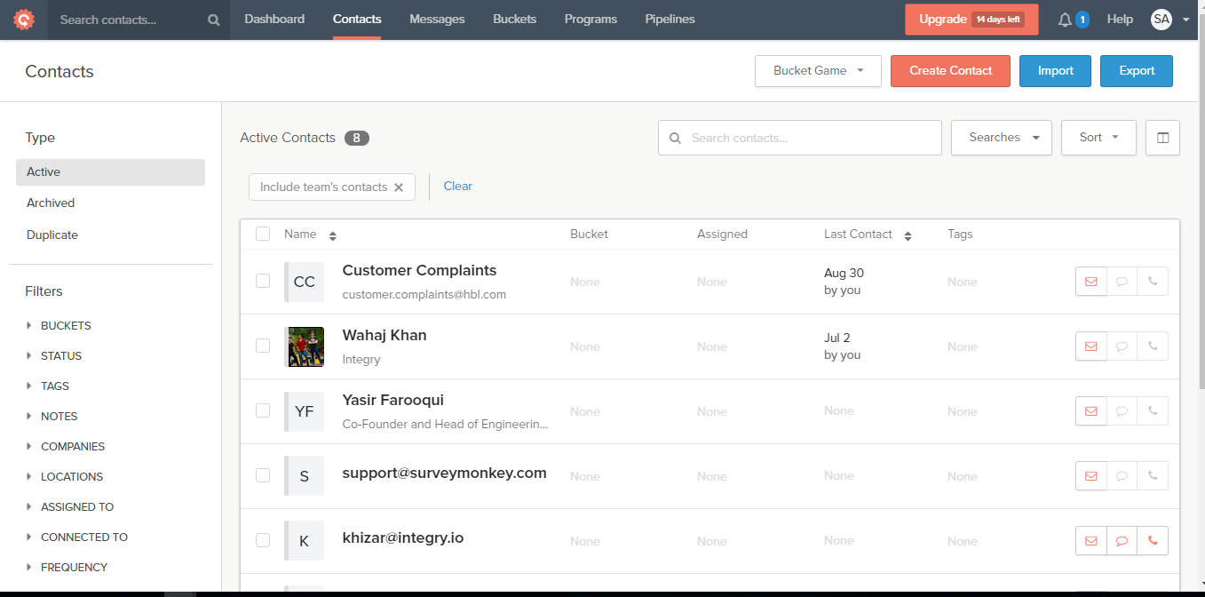 Contactually Screenshot