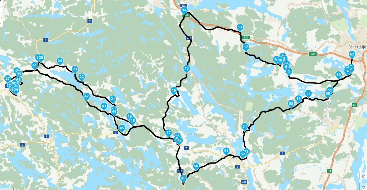 Karta med ungefärlig rutt