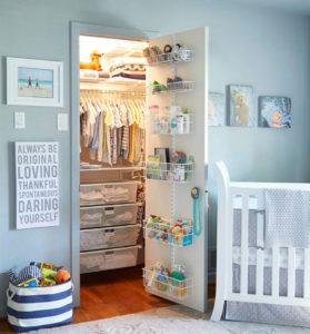 a nursery closet uses limited space to its advantage