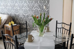 An accent wall created using wallpaper
