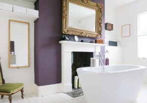 Modern bathroom with a punch of purple