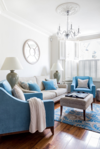 Blue is used to create a feeling of freshness and calm