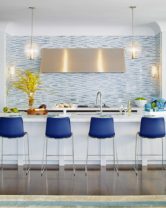 Blue is used to create a sense of serenity in this kitchen