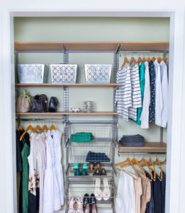 this closet uses various clever methods for organization