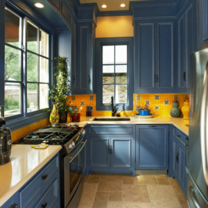 This kitchen uses blue and yellow well