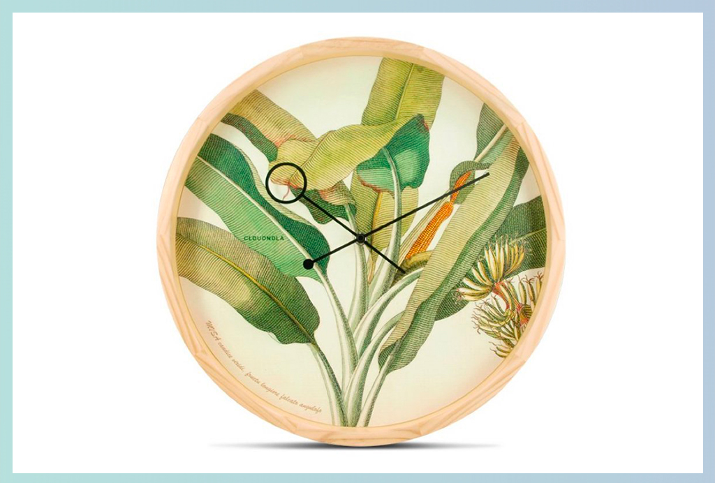 Apt2B Wall Clocks_Wood Tropical Leaves