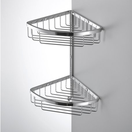 Double corner rack with hook for the bathroom