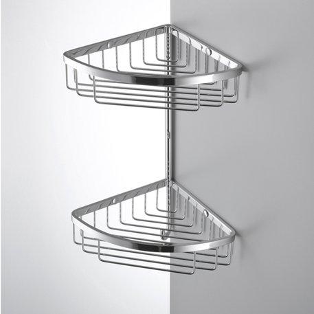 Panier d'angle double avec crochet pour la salle de bains