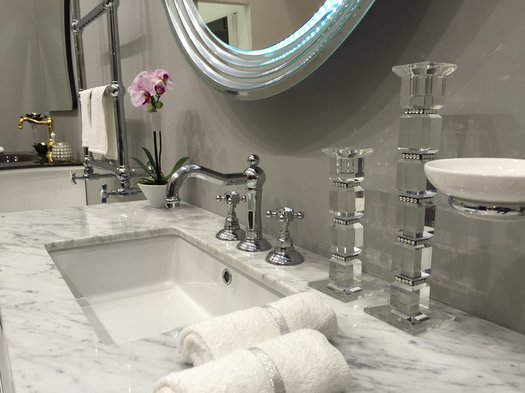3 hole cottage washbasin faucet on country style bathroom furniture
