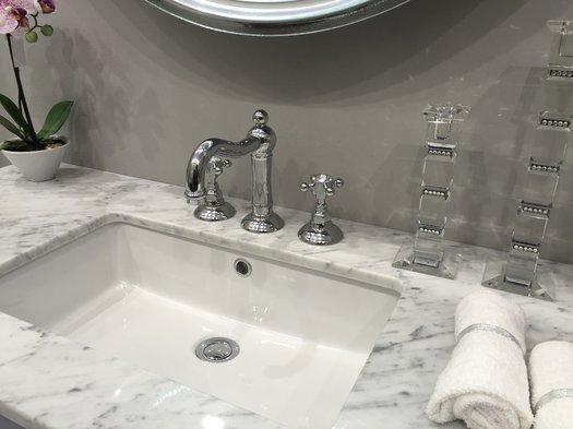Retro 3 hole washbasin tap on country style bathroom furniture