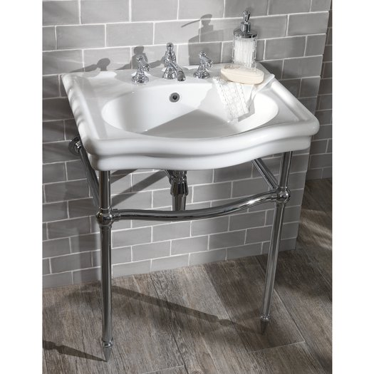 Loxley washbasin console on brass support in chrome