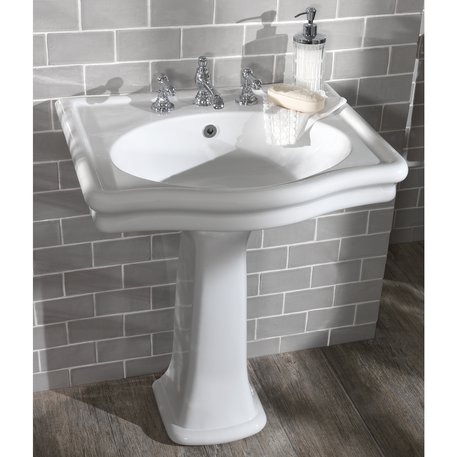 Loxley washbasin on pedestal without splash guard