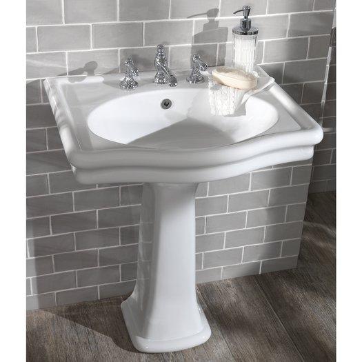 Loxley washbasin on pedestal without splash guard