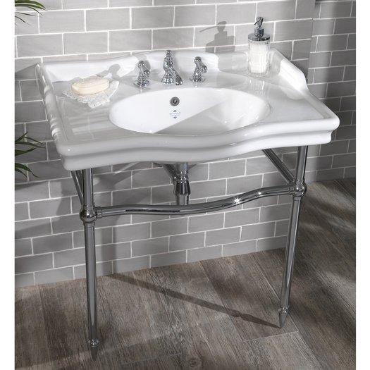 Vintage washbasin tablet on brass support