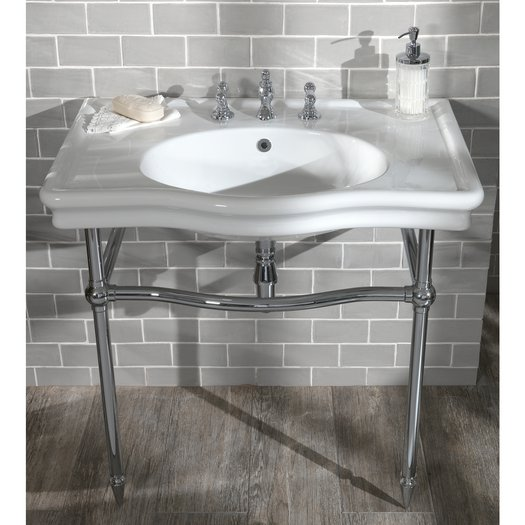 Classic washbasin console with brass support in chrome