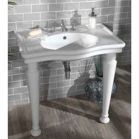 Cottage bathroom basin console with ceramic feet