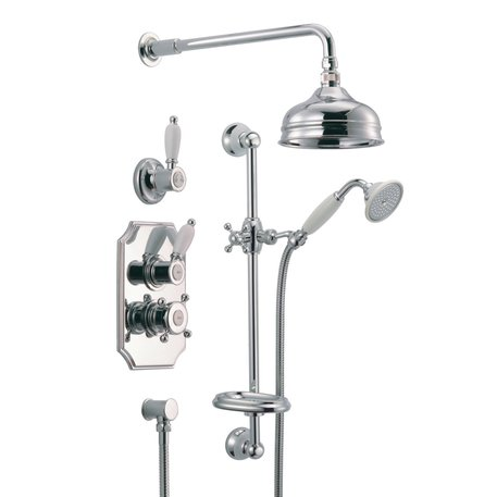 Nostalgic build-in thermostatic shower ensemble with shower bar
