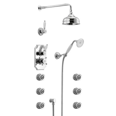 Cottage wellness thermostatic shower ensemble with 6 side jets