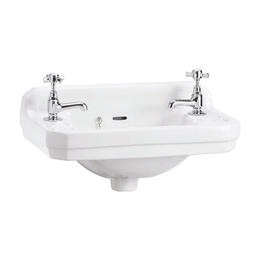 Edwardian cloakroom basin in cottage style, wall mounted