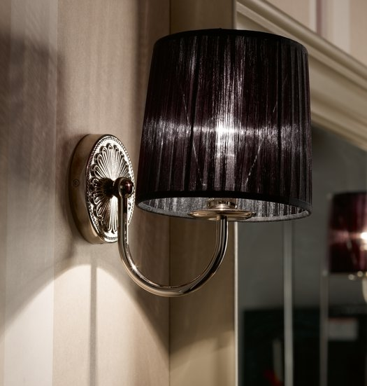 Giotto wall lamp with black fabric shade
