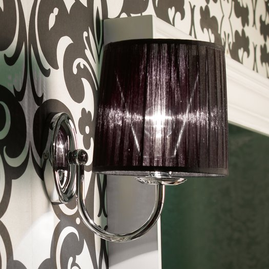 Raffaello wall lamp with black fabric shade