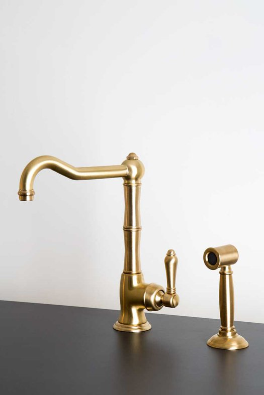 Rural kitchen faucet with hand shower