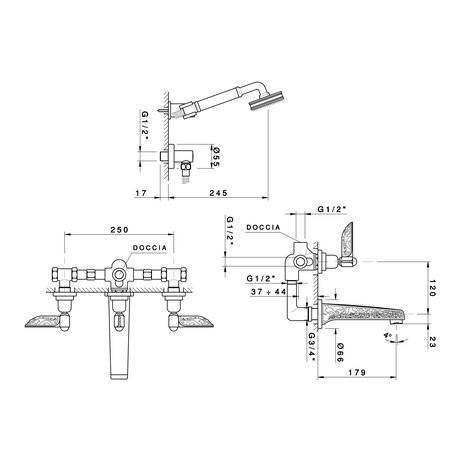 Liberty build-in bath & shower mixer