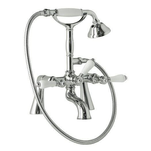Bathtub deck-mounted faucet in cottage style