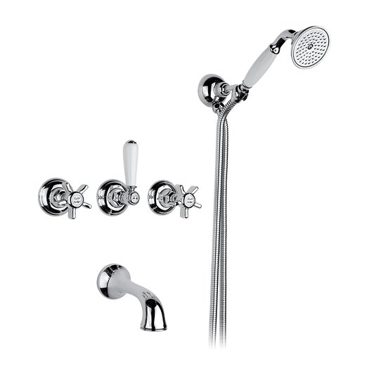 Build-in bathtub mixer with hand shower for the vintage style bathroom