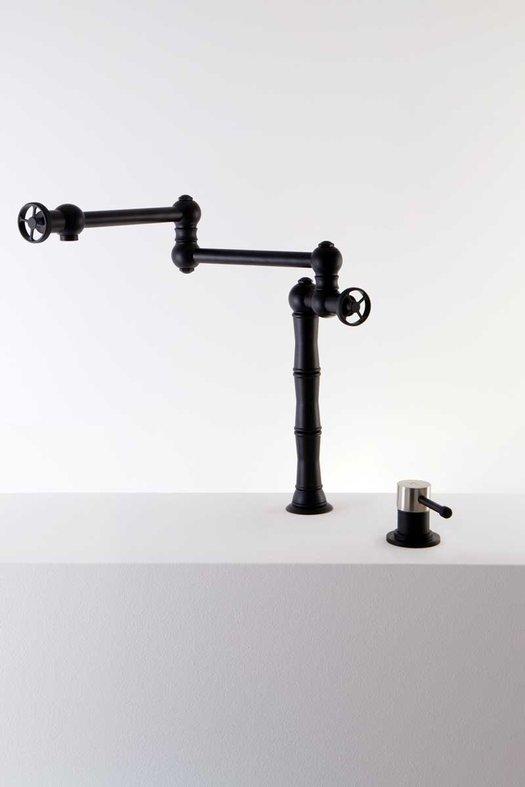 Stylish folding kitchen faucet in matt black